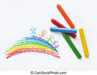 Crayons and kids drawing