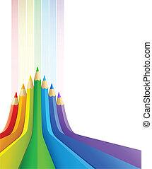 crayons, art abstrait, couleur, fond