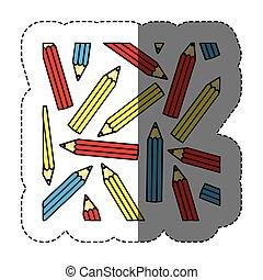 crayons, autocollant, silhouette, coloré, modèle