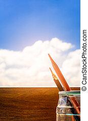 crayons, begrepp, sky., hus, -, lysande, se, fönster, skrivbord, utbildning, min