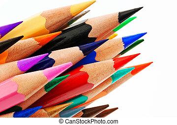 crayons, blanc, arrière-plan coloré, beaucoup