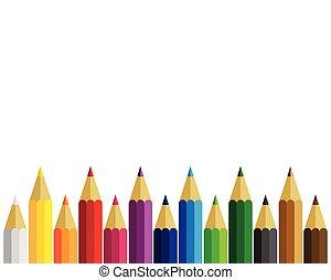 crayons, blanc, ensemble, arrière-plan coloré
