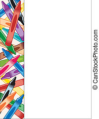 crayons, côté, cadre