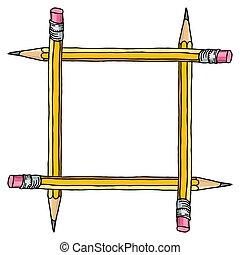 crayons, cadre, carrée, vide