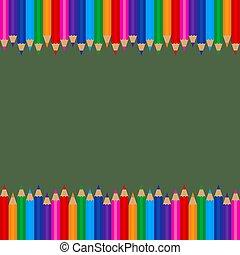 crayons, cadre, coloré, gabarit