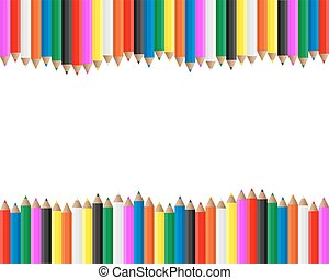 crayons, cadre, coloré
