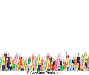 crayons, cadre, fond blanc, coloré