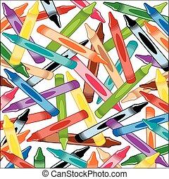 crayons, carrée, fond