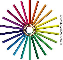 crayons, cirkel