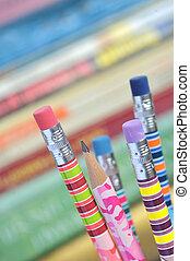 crayons, closeup, coloré
