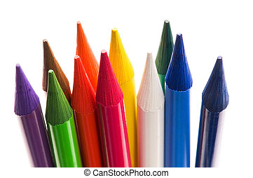crayons, collection, coloré