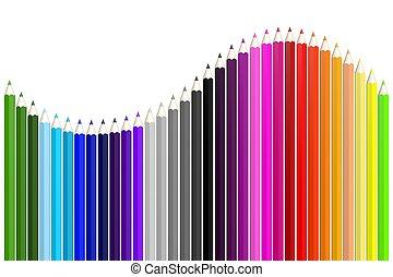 crayons, coloré, bois, -, vague, forme, pencils/, 3d