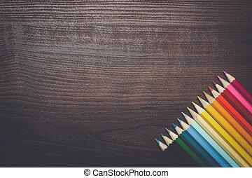 crayons, coloré, brun, sur, fond, table