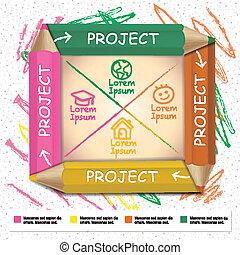 crayons, coloré, cha, couler, créatif, infographic, gabarit