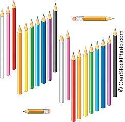 crayons, coloré, collection, arrière-plan., blanc