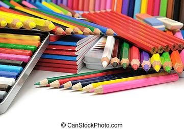 crayons, coloré, collection