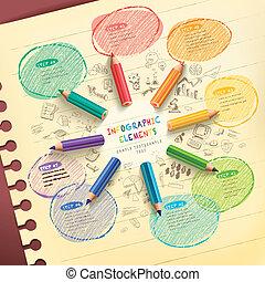 crayons, coloré, couler, créatif, infographic, gabarit, dessin