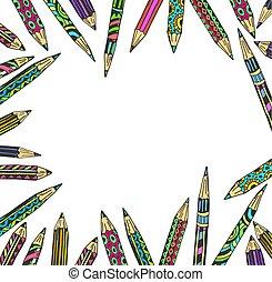 crayons, coloré, décoratif, cadre