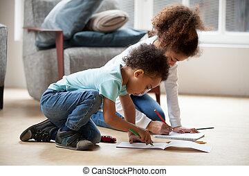 crayons, coloré, ensemble, noir, petit, frères soeurs, dessin