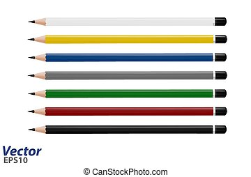 crayons, coloré, ensemble, vector., vecteur, illustration.