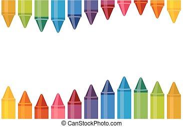 crayons, coloré, espace, haut, isolé, fond, fin, blanc, vide