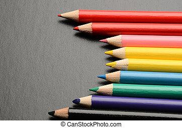 crayons, coloré