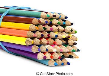 crayons, coloré, isolé