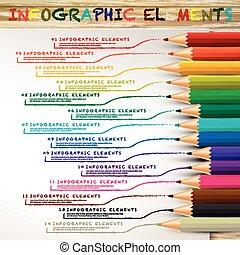 crayons, coloré, lignes, infographic, education, dessin