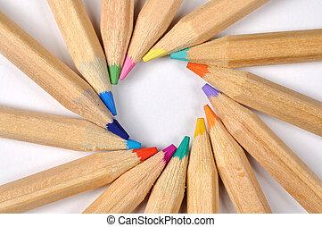 crayons, coloré, macro