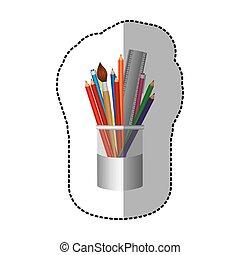 crayons, coloré, pot, icône