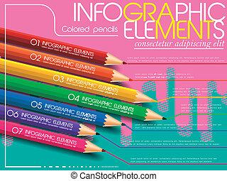 crayons, coloré, sur, moderne, créatif, infographic, gabarit