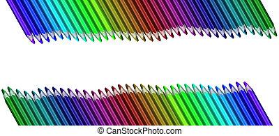 crayons, coloré, vague