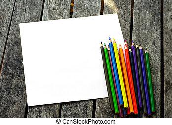 crayons colorés, à, peint, soleil