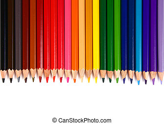 crayons coloured pencils isolated on white background