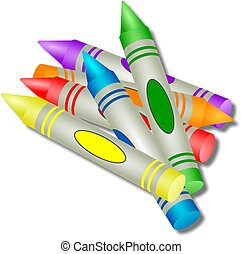 Coloured wax crayons illustration.