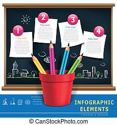 crayons, couler, créatif, carboniser, infographic, gabarit