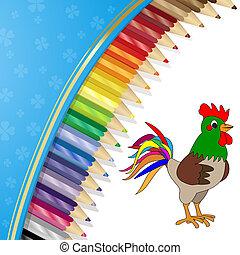 crayons, couleur, coq