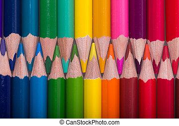 crayons, couleur crayon, haut, arrière-plan., fin