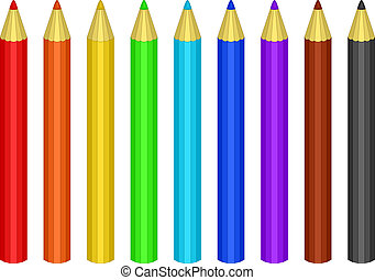 crayons, couleur, ensemble
