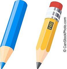 crayons, couleur, ensemble, dessin, gris