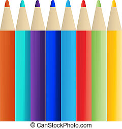 crayons, couleur, eps, 10
