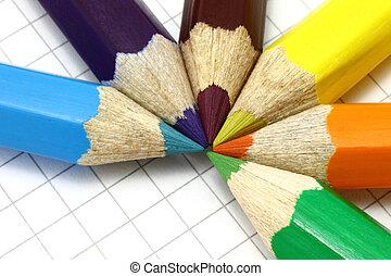 crayons, couleur, gros plan