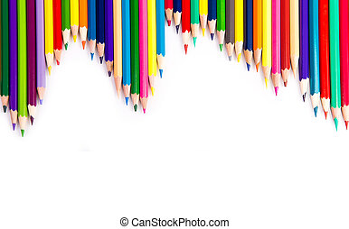 crayons, couleur, isolé