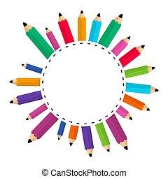 crayons, couleurs, ensemble