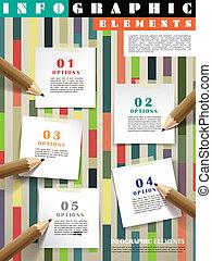 crayons, créatif, infographic, gabarit, poteau-il, écriture