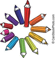 crayons, croquis, coloré, lengths., illustration, vecteur, divers