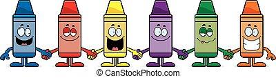 crayons, dessin animé, tenant mains