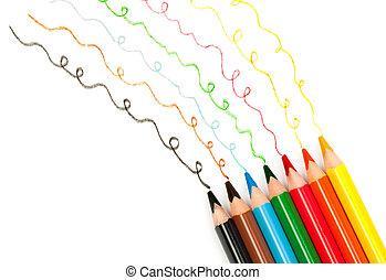 crayons, dessiner, lignes, coloré