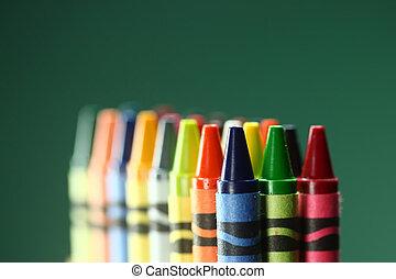crayons, dos, coloré, école