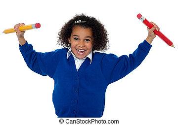 crayons, elle, deux, danse, amusement, mains, élémentaire, girl, aimer